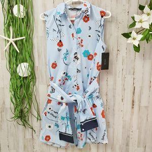 Zara Striped Floral Shirt Dress Blue Size Medium